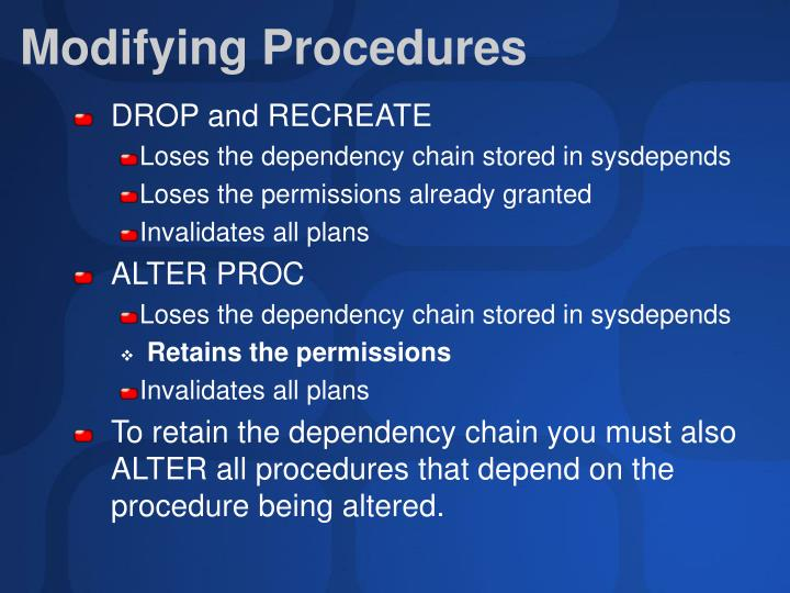 Modifying Procedures