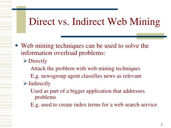 Direct vs. Indirect Web Mining