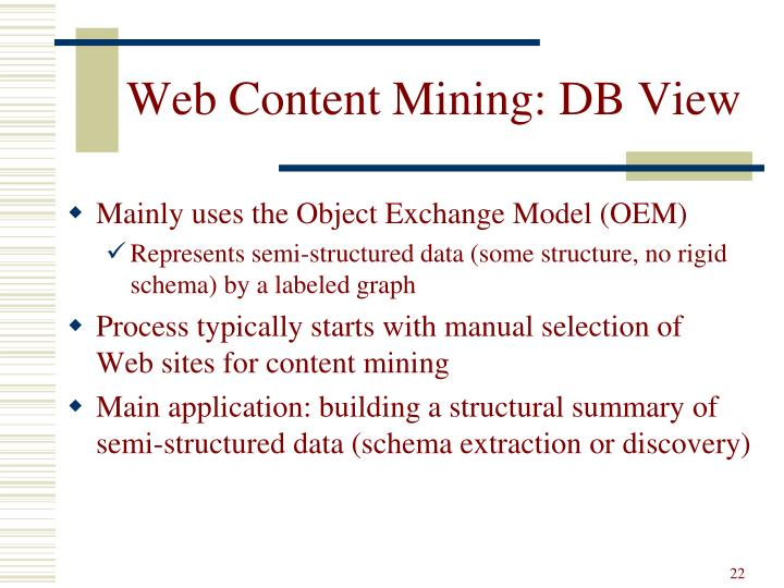 Web Content Mining: DB View