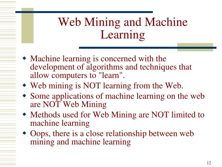 Web Mining and Machine Learning
