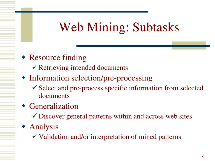 Web Mining: Subtasks