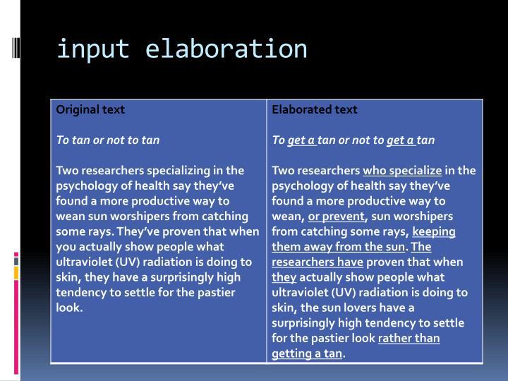 input elaboration
