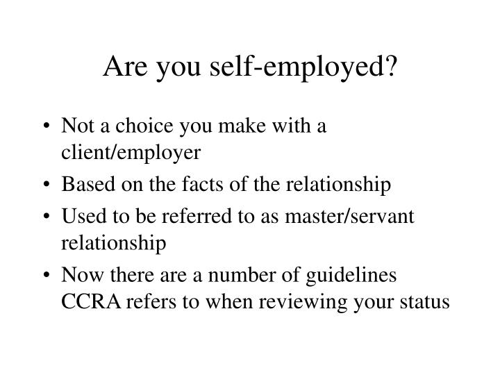 Are you self-employed?