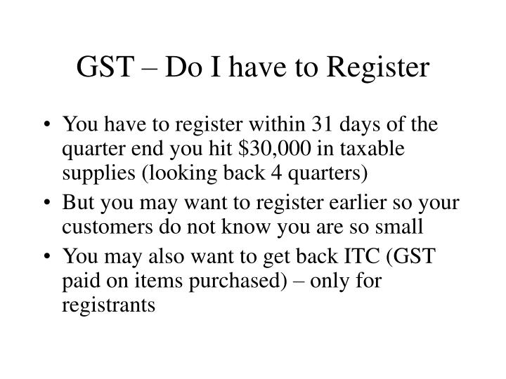 GST – Do I have to Register