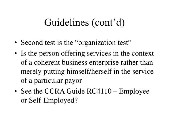Guidelines (cont'd)