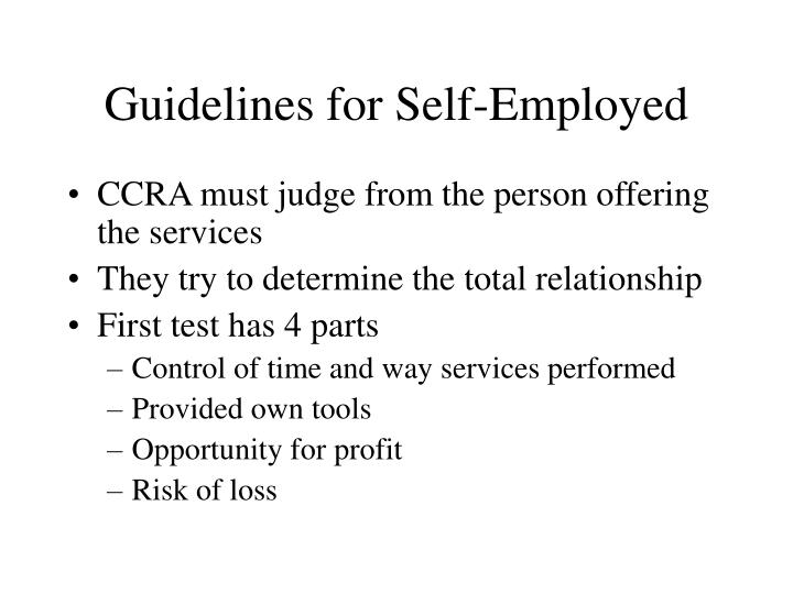 Guidelines for Self-Employed