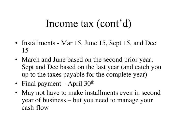 Income tax (cont'd)