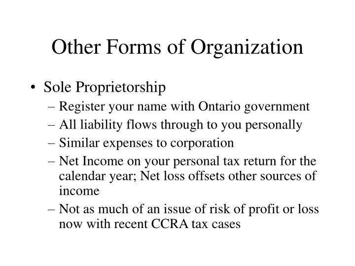Other Forms of Organization