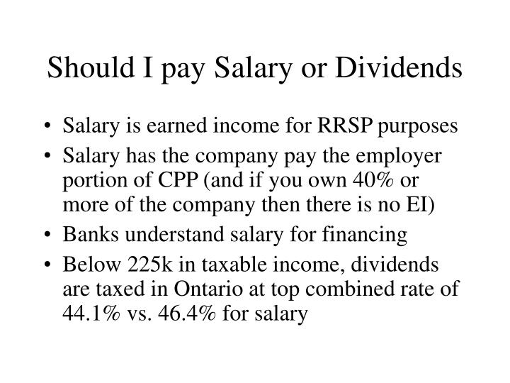 Should I pay Salary or Dividends