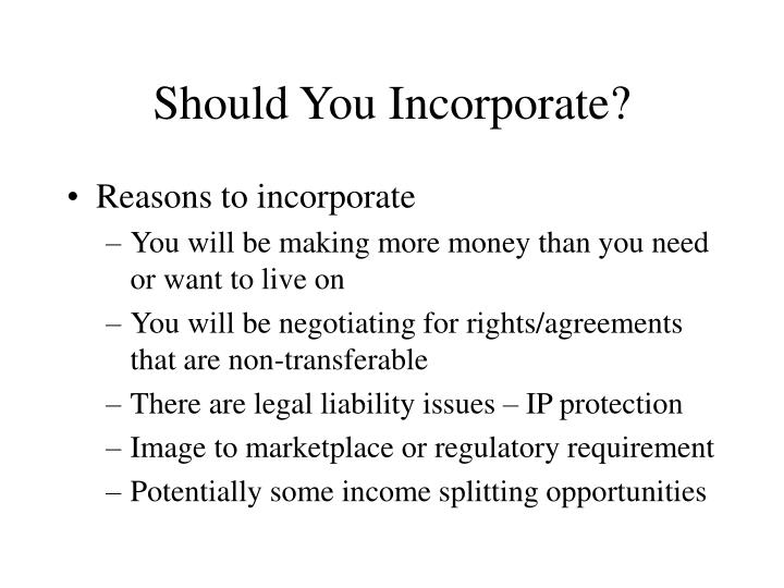 Should You Incorporate?