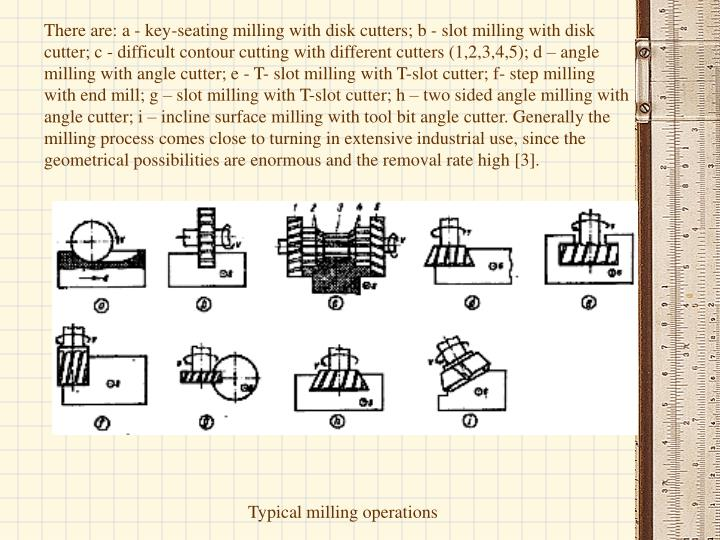 There are: a - key-seating milling with disk cutters; b - slot milling with disk cutter; c - difficult contour cutting with different cutters (1,2,3,4,5); d – angle milling with angle cutter; e - T- slot milling with T-slot cutter; f- step milling with end mill; g – slot milling with T-slot cutter; h – two sided angle milling with angle cutter; i – incline surface milling with tool bit angle cutter. Generally the milling process comes close to turning in extensive industrial use, since the geometrical possibilities are enormous and the removal rate high [3].