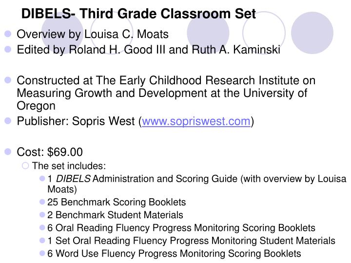 DIBELS- Third Grade Classroom Set
