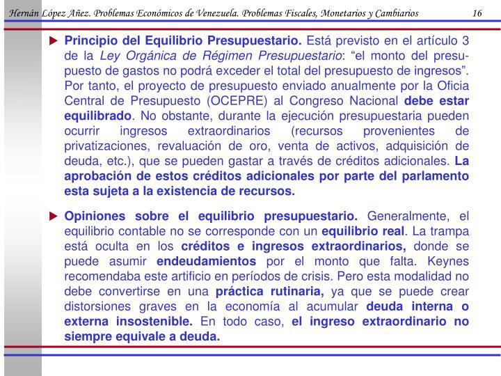 Hernán López Añez. Problemas Económicos de Venezuela. Problemas Fiscales, Monetarios y Cambiarios                      16