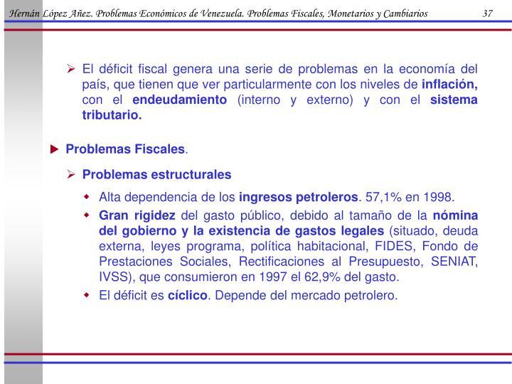 Hernán López Añez. Problemas Económicos de Venezuela. Problemas Fiscales, Monetarios y Cambiarios                      37