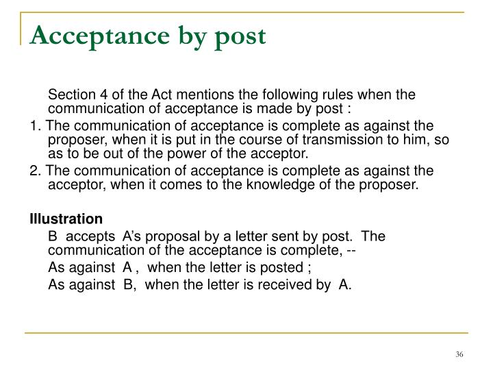 Acceptance by post