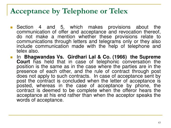 Acceptance by Telephone or Telex