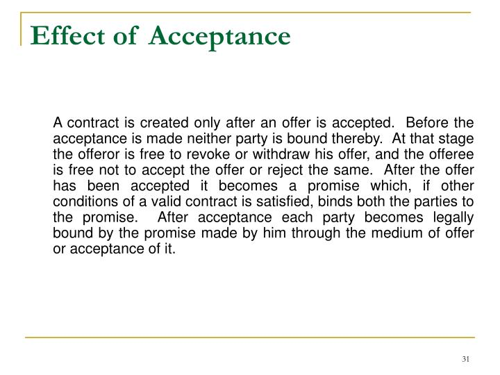 Effect of Acceptance
