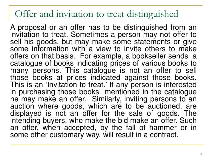 Offer and invitation to treat distinguished