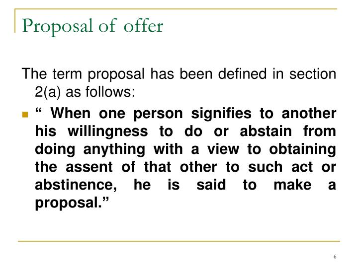 Proposal of offer
