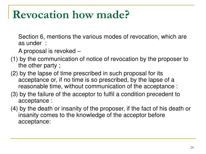 Revocation how made?