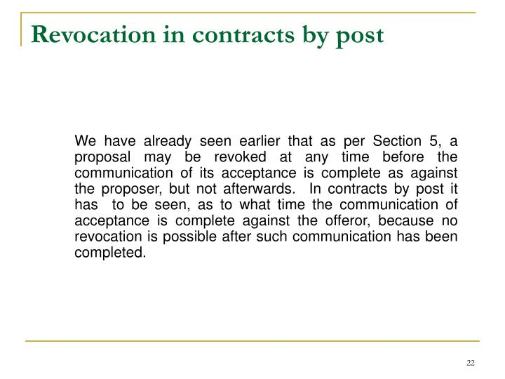 Revocation in contracts by post