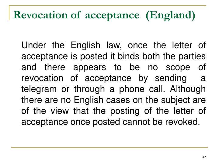 Revocation of acceptance  (England)
