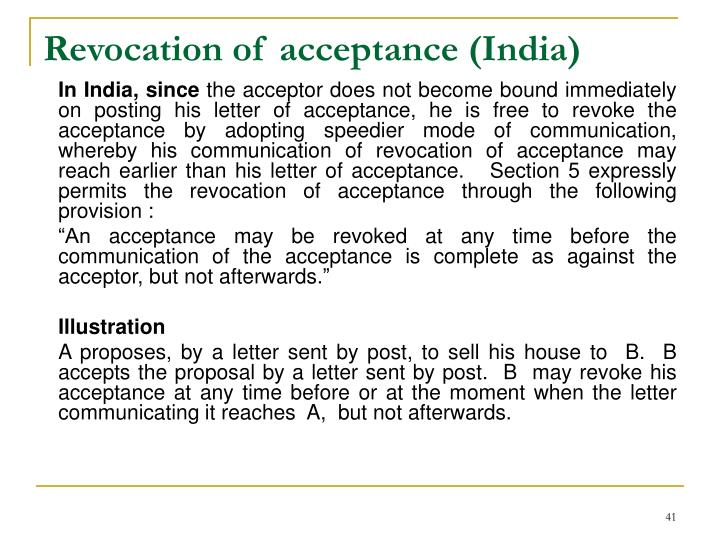 Revocation of acceptance (India)