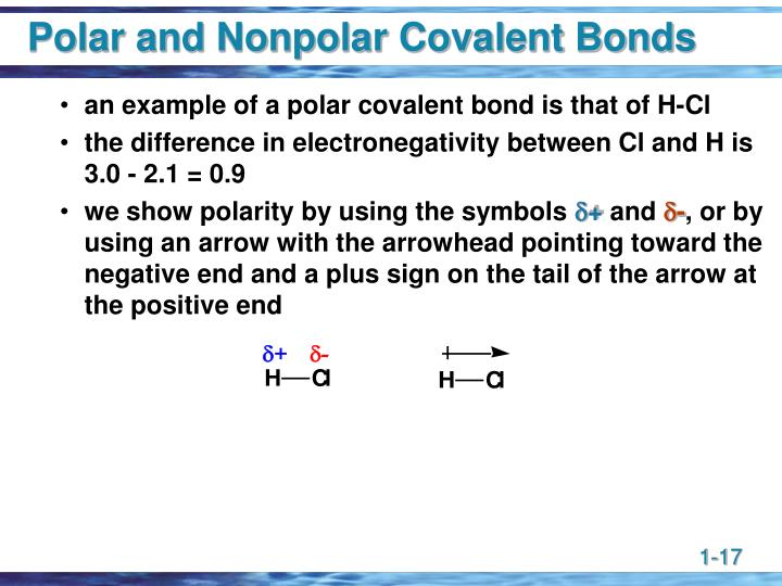 Polar and Nonpolar Covalent Bonds
