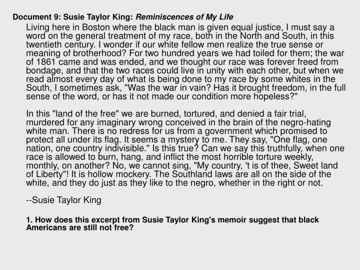 Document 9: Susie Taylor King: