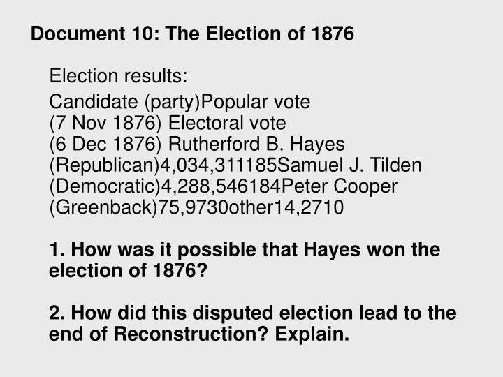 Document 10: The Election of 1876
