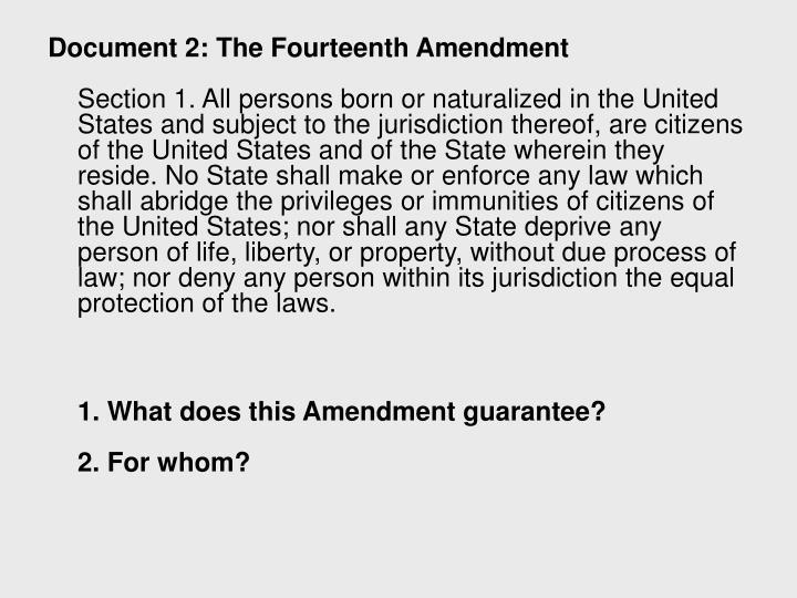Document 2: The Fourteenth Amendment