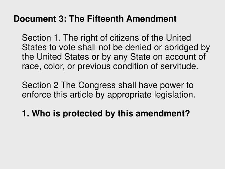 Document 3: The Fifteenth Amendment