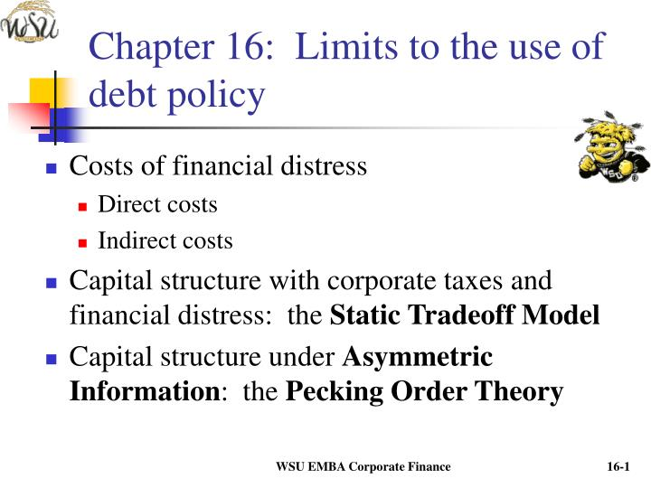 Chapter 16 limits to the use of debt policy