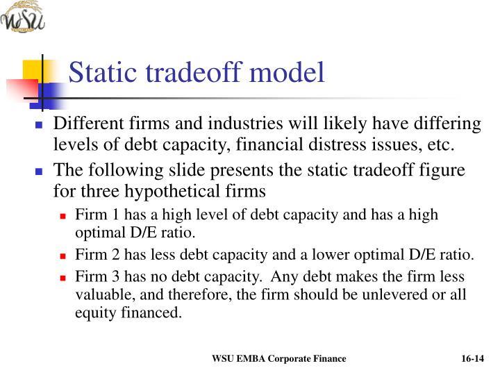 Static tradeoff model