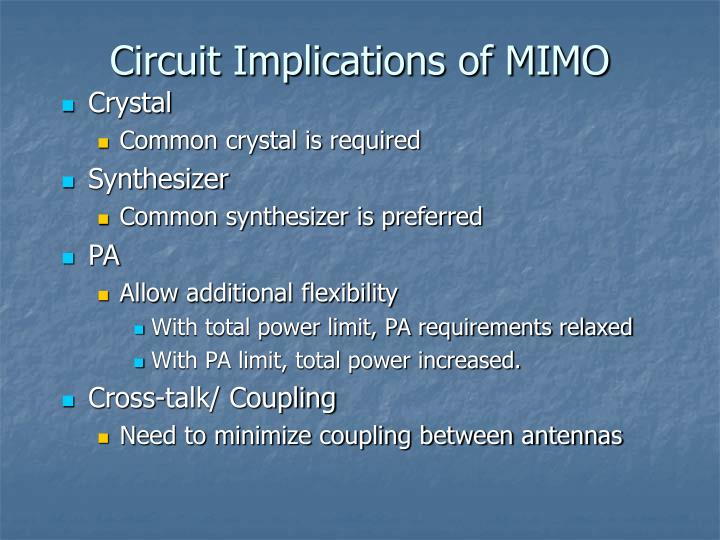 Circuit Implications of MIMO
