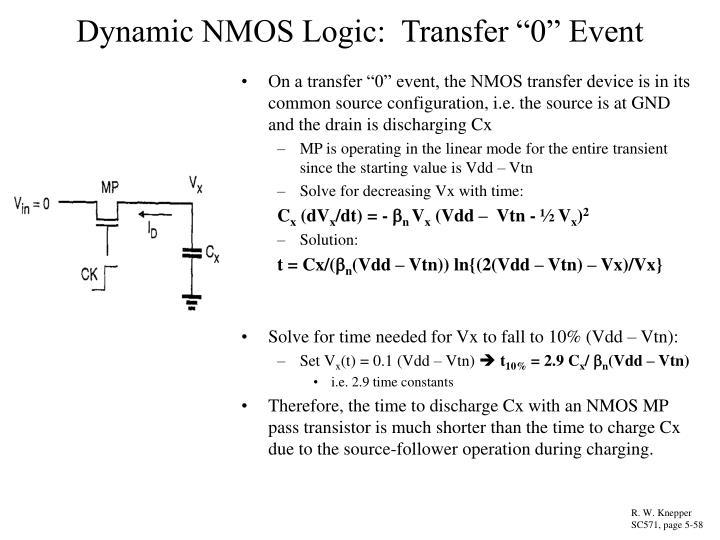 "Dynamic NMOS Logic:  Transfer ""0"" Event"