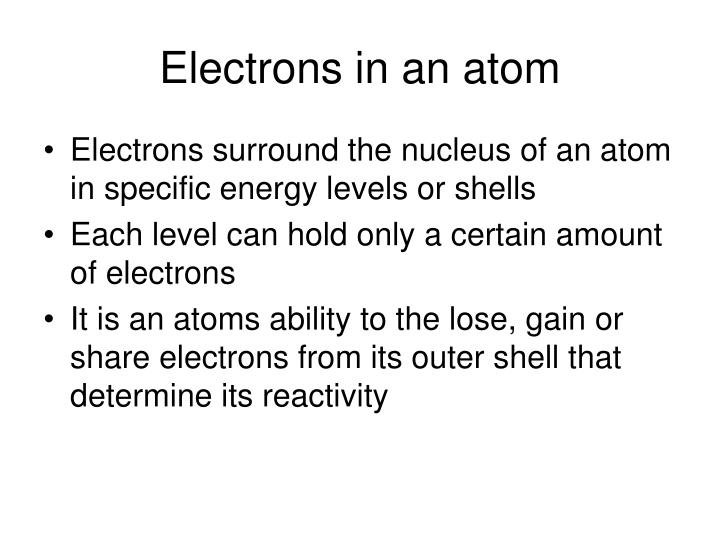 Electrons in an atom