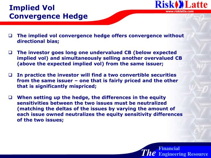 Implied Vol Convergence Hedge
