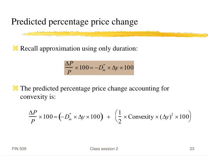 Predicted percentage price change