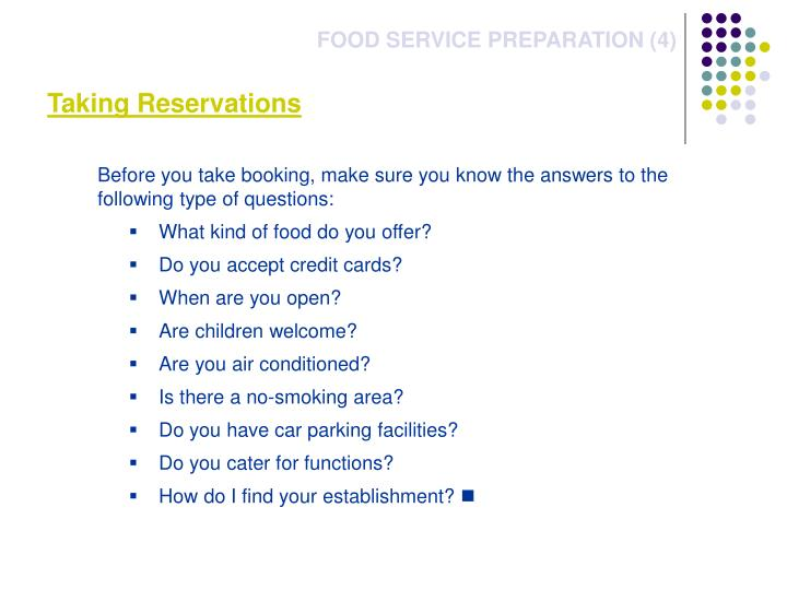 Taking Reservations