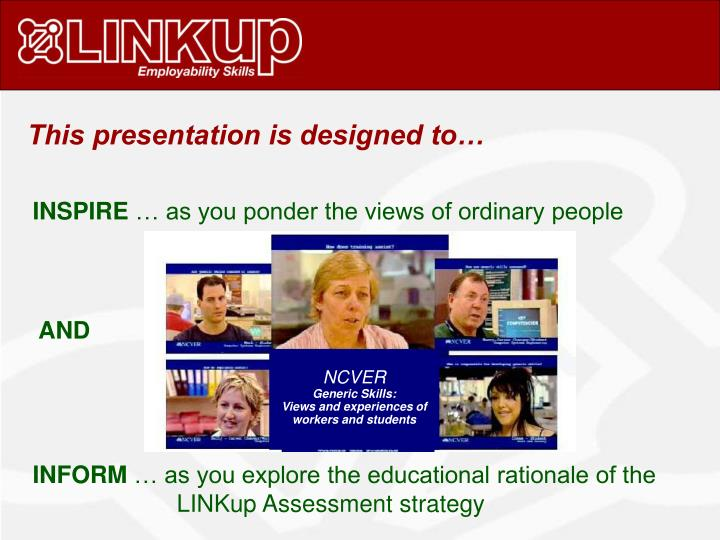 This presentation is designed to…
