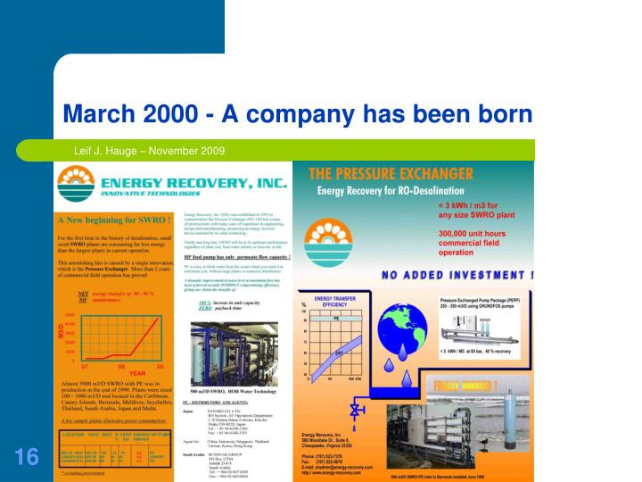 March 2000 - A company has been born