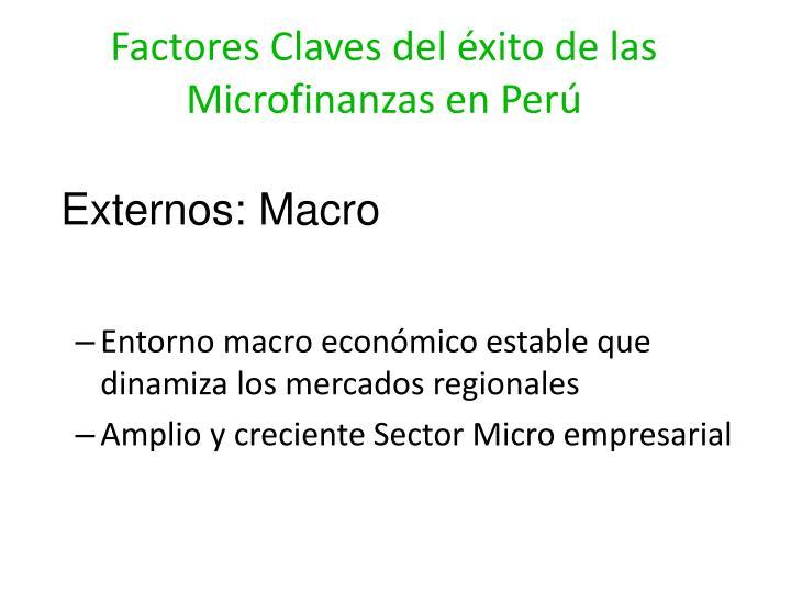 Factores Claves del éxito de las Microfinanzas en Perú