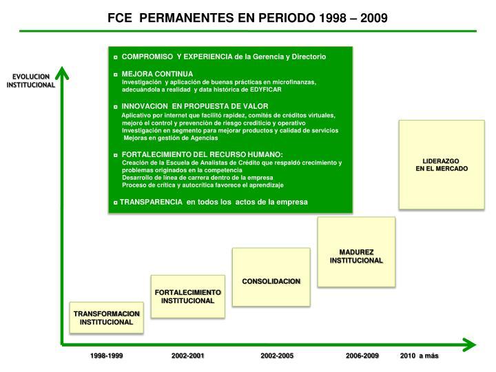 FCE  PERMANENTES EN PERIODO 1998 – 2009