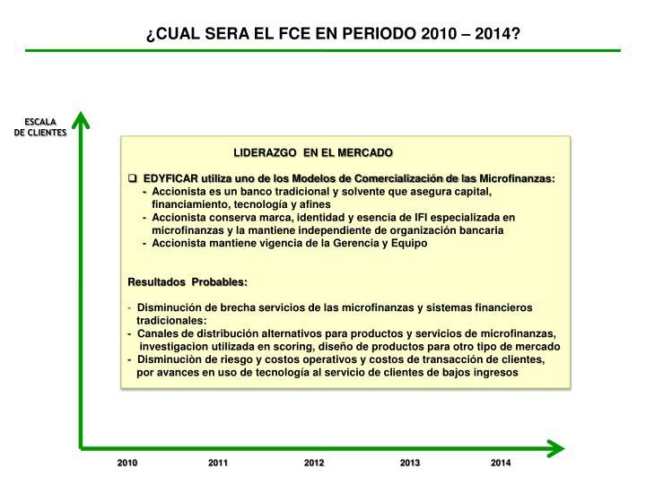 ¿CUAL SERA EL FCE EN PERIODO 2010 – 2014?