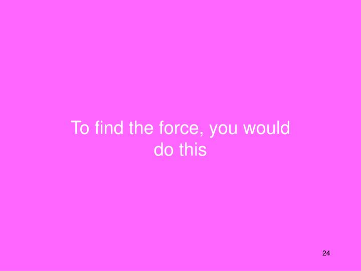 To find the force, you would do this