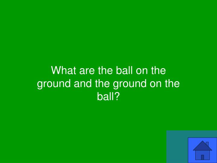 What are the ball on the ground and the ground on the ball?