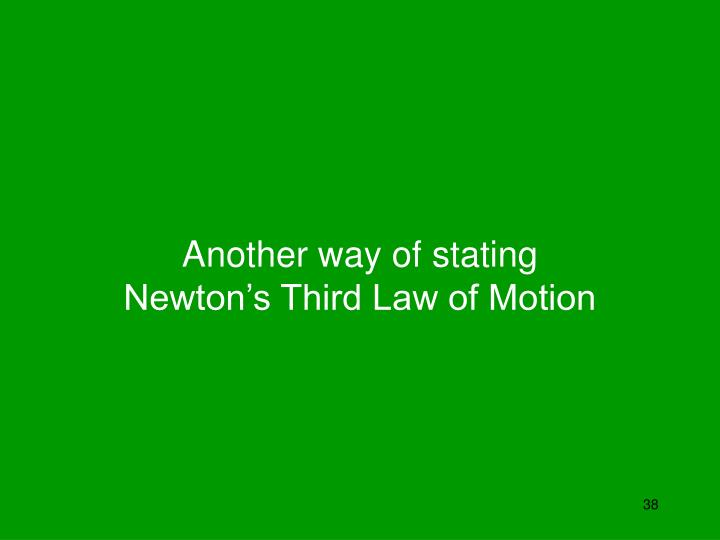 Another way of stating Newton's Third Law of Motion