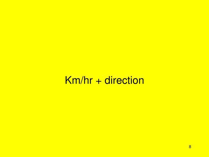 Km/hr + direction