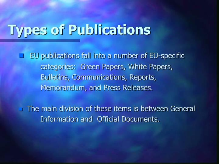 Types of Publications